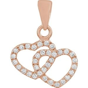 14K Rose 1/6 CTW Diamond Double Heart Pendant